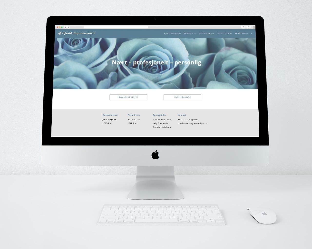 Opshal Begravelsesbyrå webside mac