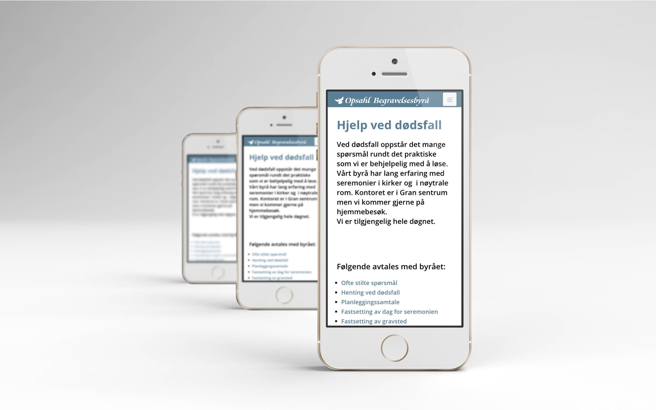 Opshal Begravelsesbyrå web iPhone